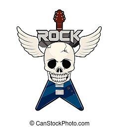 elettrico, cranio, etichetta, chitarra, musica, roccia