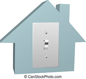 elettrico, elettricità, casa, interruttore, luce, casa