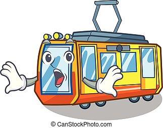 elettrico, forma, treno, giocattoli, sorpreso, mascotte