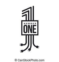 elettrico, formato, numero, logotipo, spine, cavi