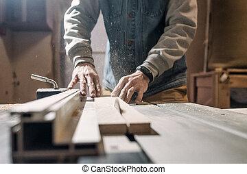 elettrico, lavorativo, officina, legna taglio, board., uomo, sega, carpenteria