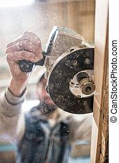 elettrico, legno, carpentiere, woodworking, indirizzando, usando, asse