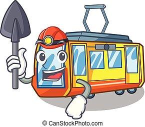 elettrico, minatore, forma, treno, giocattoli, mascotte
