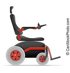 elettrico, persone, carrozzella, illustrazione, invalido, ...