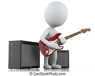 elettrico, persone, chitarra, bianco, gioco, 3d
