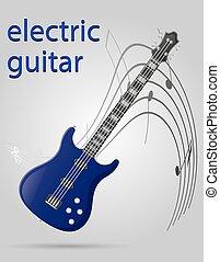 elettrico, strumenti, illustrazione, chitarra, vettore, musicale, casato