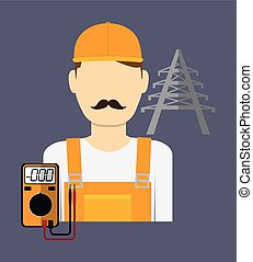 elettrico, tecnico, uomo, vettore, illustrazione