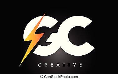 elettrico, tuono, disegno, bullone, lettera, logotipo, bolt., illuminazione, gc