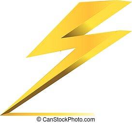elettrico, tuono, simbolo, carica, vettore, icona