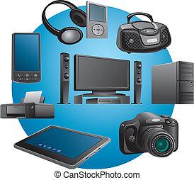 elettronica, apparecchi, icone
