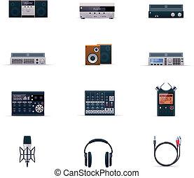 elettronica audio, vettore, set, icona