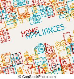 elettronica casa, apparecchi, fondo.