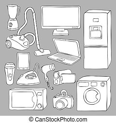 elettronica casa, apparecchi, icone