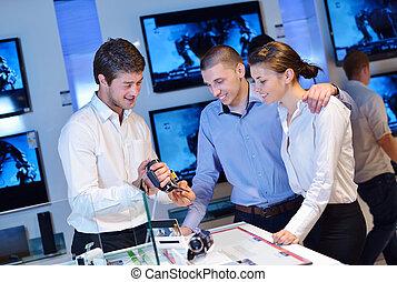 elettronica, comprare, consumatore, negozio, persone