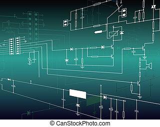 elettronica, fondo, con, circuito
