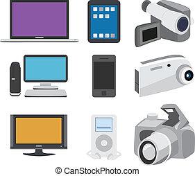 elettronica, set, icona