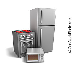 elettronica, sopra, bianco, cucina