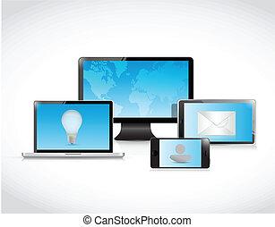 elettronica, tecnologia, illustrazione affari