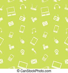 elettronica, vettore, pattern., aggeggio, seamless