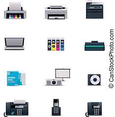 elettronica, vettore, set, ufficio, icona