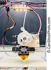 elettronico, 3d, plastica, stampante, durante, lavoro, in,...