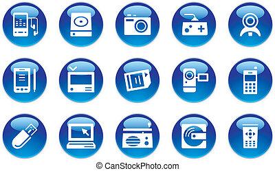 elettronico, aggeggio, icone, set