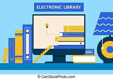 elettronico, vettore, computer, biblioteca, illustrazione