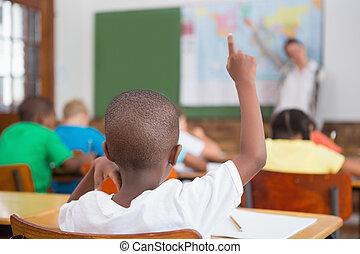 elev, uppresning lämna, in, klassrum