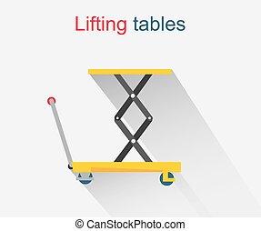 elevación, mesas, icono, diseño, estilo