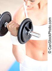 elevación, mujer, habitación, peso, deportes