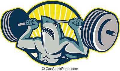 elevación, tiburón, halterófilo, pesas