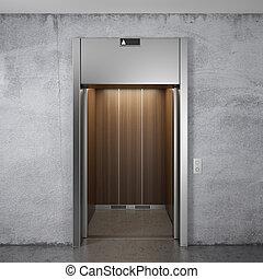 elevador, com, aberta, portas