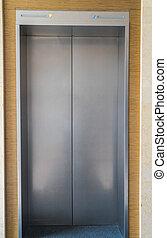 elevador, com, porta fechada, .