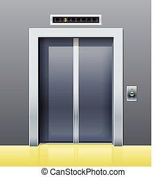 elevador, com, porta fechada