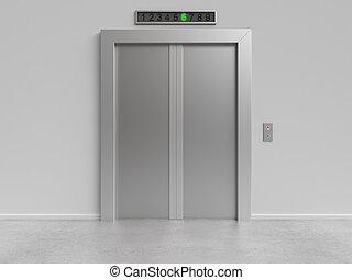 elevador, con, cerrado, puertas