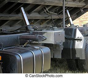 elevador hidráulico, camión, con, un, levantado, body.