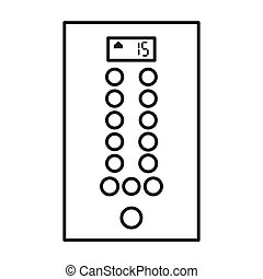 elevador, icon., plano de fondo, aislado, contorno, icono, vector, botón, blanco