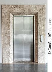 elevador, ou, elevador, porta fechada