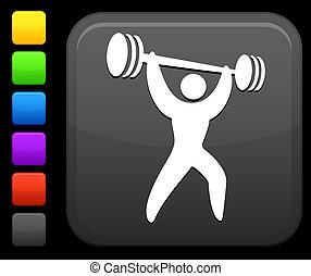 elevador peso, ícone, ligado, quadrado, internet, botão