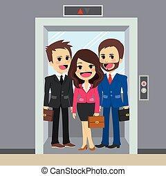 elevador, pessoas negócio