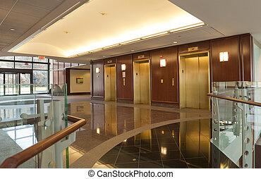 elevadores, en, edificio moderno