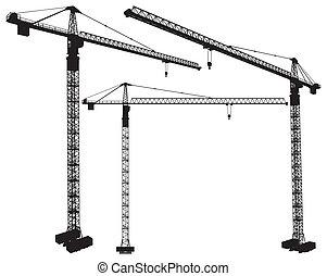elevar, grúa construcción
