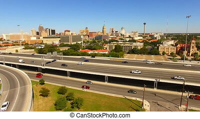 Elevate up over San Antonio Texas Rush Hour Highway - Cars...