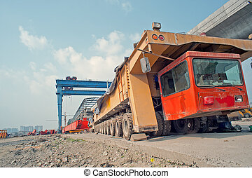 Elevated bridge construction vehicles,