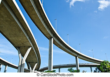 elevated expressway - The curve of suspension bridge in...
