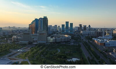 Elevated morning view over the city center and central business district Timelapse, Kazakhstan, Astana