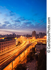 elevated road at sunrise in shanghai,China