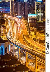 elevated road closeup at night
