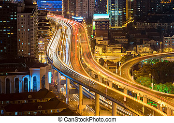 elevated road closeup at night