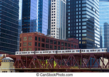 Elevated Train and Skyscrapers